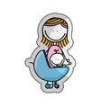cute baby in cart isolated icon vector image vector image