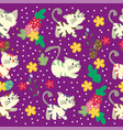 cute cat seamless pattern with flower on colorful vector image vector image