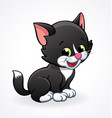 cute smiling cartoon kitten cat stitting vector image