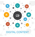 digital content trendy web concept with icons vector image vector image