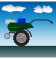 drawing of the motor cultivator in the open air vector image