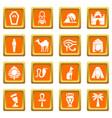 egypt travel icons set orange square vector image vector image