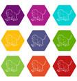 gelada monkey icons set 9 vector image