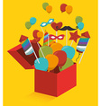 Gift box with fireworks and balloons vector image vector image