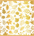 gold foil leaves seamless background vector image