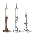 hand made sketch retro old candle candlestick vector image vector image