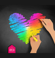 hands drawing rainbow colored heart vector image vector image