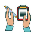 hands with clipboard checklist and pen vector image vector image
