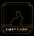 Happy easter card of gold art deco outline bunny