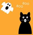 happy halloween background black cat looking up vector image