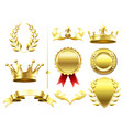 heraldic 3d elements royal crowns and shields vector image vector image