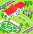 isometric school and big vector image vector image