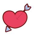 line color arrow design inside heart love icon vector image vector image
