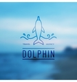 logo of dolphin and waves vector image vector image