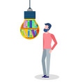 male creativing with educational books vector image