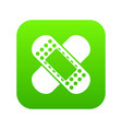 medical patch icon digital green vector image