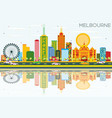 melbourne skyline with color buildings blue sky vector image vector image