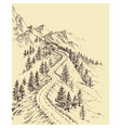 mountain road alpine landscape vector image vector image