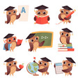 owl school teacher birds characters teaching vector image vector image