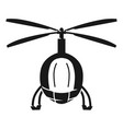 police helicopter front view icon simple style vector image