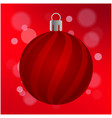 red christmas ball with stripes isolated red vector image