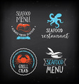Seafood menu and badges design elements
