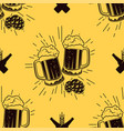 seamless pattern with clinking glasses of beer vector image
