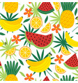 seamless pattern with tropical fruits vector image vector image