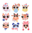 set hand drawn cute funny animals heads vector image
