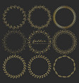 set of golden floral round frames for decoration vector image vector image