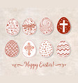 set of hand-drawn ornated paper-cut easter eggs on vector image