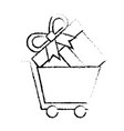shopping and gift box online market concept vector image vector image