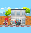 street scene with people vector image