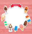 sweet ice cream background design vector image