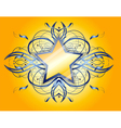 Yellow background with yellow and blue star vector image vector image