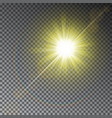 yellow sun ray light effect with rainbow isolated vector image vector image