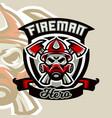 colorful logo emblem sticker fireman and vector image