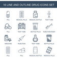 16 drug icons vector image vector image