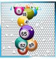 bingo balls breaking a white 3d circular tiles