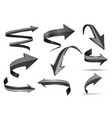 black 3d shiny arrows set of curved icons vector image vector image