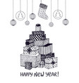 black and white sketch of new year presents and vector image