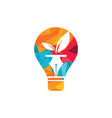 bulb with leaf and pen logo design vector image vector image