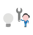 businessman character holding spanner to gray vector image