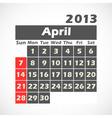 Calendar 2013 April vector image