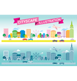 Colorful and monotone cityscape icon flat style ve vector image vector image