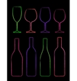 colorful linear set of bottle and glass vector image vector image
