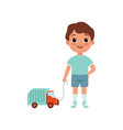 cute litlle boy with toy car stage of growing up vector image vector image