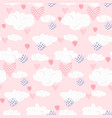 cute pink seamless pattern with clouds and hearts vector image