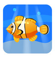 cute tropical fish clown in sea ocean cartoon vector image