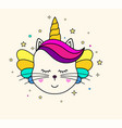 cute unicorn face vector image